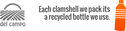 Each clamshell we pack its a recycled bottle we use. (del lad inquired)